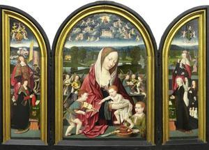 Joris Sampson, zijn zoon en de H. Joris (links), Maria met kind en musicerende engelen (midden), Engelken Colen, haar dochters en de H. Anna-te-Drieën (rechts)