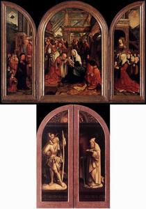 De H. Hieronymus met stichter Claes Bouwensz. Cat (...-1536) en zijn  zonen (links), de aanbidding van de Wijzen (midden), de H. Catharina van Alexandrië met stichtster Volckgen Jansdr. en haar dochters (rechts); De H. Christoforus (buitenzijde links), de H. Antonius Abt (buitenzijde rechts)