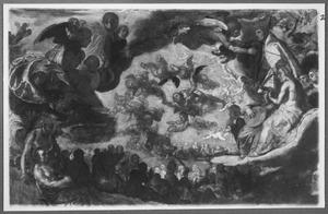 Een visioen van de hemel met een menigte apostelen, oudsten, heiligen en  engelenscharen