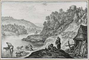 Bergachtig rivierlandschap met schaapscheerders (de maand Juni)
