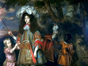 Familieportret van Maria van Oranje-Nassau (1642-1688) en Hendrik van Nassau-Zuylestein (?-1673), met een bediende