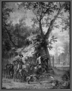Landschap met jagers bij een landhuis
