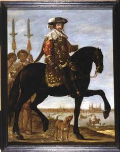 Christian IV (1577-1648) ter paard, met in de achtergrond prins Christian en Kronborg Slot
