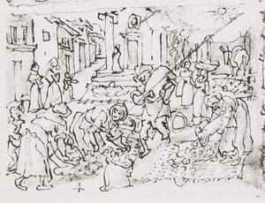 Het drogen van de cocons op straat