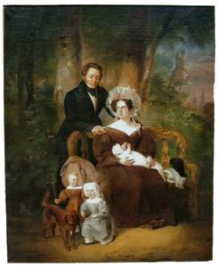 Portret van Cornelis Jacob van der Does (1798-1853) met zijjn gezin
