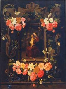 Cartouche versierd met bloemen rondom een voorstelling van de Maagd Maria en Jezus