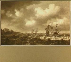 Ontmoeting tussen Hollandse schepen en Duinkerkse kapers; links op de achtergrond een rotsachtige kust