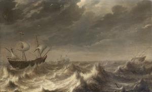 Een Hollands smalschip en andere schepen op woeste zee