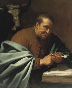 De evangelist Lucas zijn pen bijsnijdend