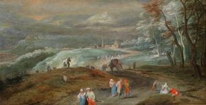 Waals heuvellandschap met reizigers