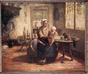 Larens interieur met vrouw en kinderen