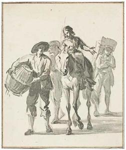 Groep figuren met een ezel