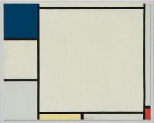 Composition with blue, yellow, and red