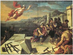 Mercurius beveelt Aeneas, bouwend aan de muren van de stad, in een droom om Carthago en Dido te verlaten