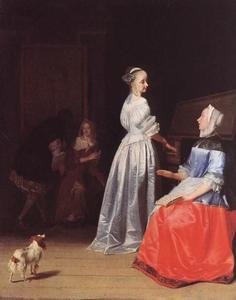 Zingende vrouw begeleid door een vrouw aan het virginaal
