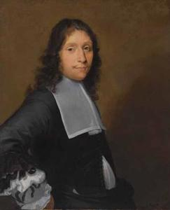 Portret van een onbekende man in zwart kostuum met platte kraag en gestrikt manchet