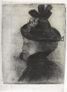 Young woman with cape and hat: etching