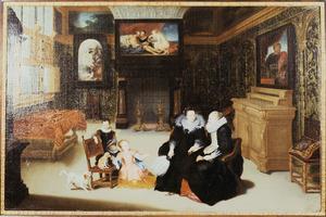 Intereieur met twee vrouwen en drie kinderen