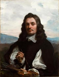 Zelfportret met palet in de hand