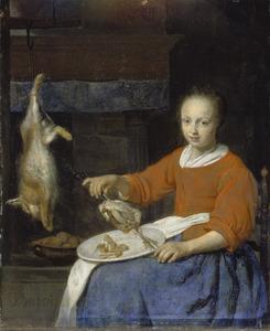 Keukenmeid gevogelte aan een spit rijgend