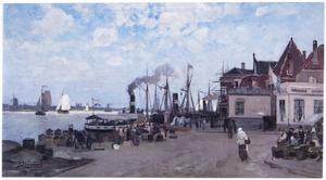 Gezicht op een kade in Dordrecht
