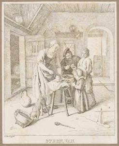 Boerenfamilie tijdens de maaltijd