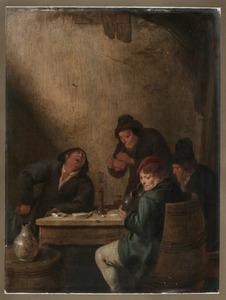 Vier rokende en drinkende boeren in een herberg