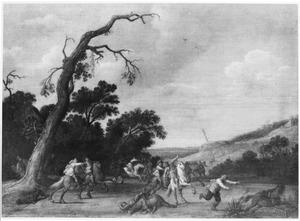 Ruitergevecht bij een kale boom