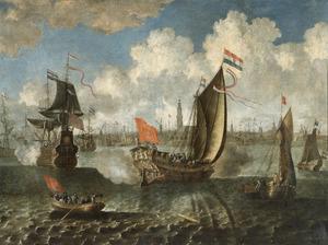 Schepen voor de haven van Rotterdam