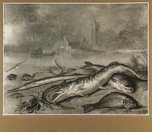 Riviervissen op de oever, aan de oeverkant van het water een dorp
