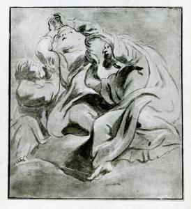 Mozes in gebed, ondersteund door Aäron en Ur (Exodus 17: 9-13)