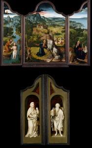 De doop van Christus (binnenzijde links), de boetvaardige heilige Hieronymus (midden), de verzoeking van de heilige Antonius (binnenzijde rechts); De Heilige Anna met Maria en Kind (buitenzijde links; in grisaille), de Heilige Sebaldus (buitenzijde rechts; in grisaille)