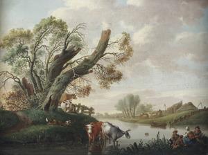 Landschap met figuren en koeien bij een rivier