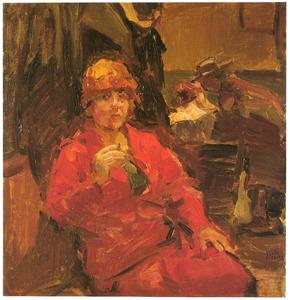 Dame in een rode jurk in een café