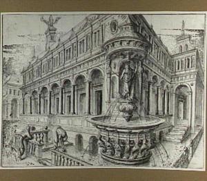 Paleis met fontein achter een balustrade