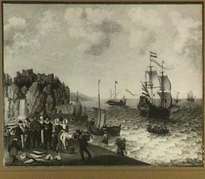 Hollandse koopvaarders fouragerend op vreemde kust