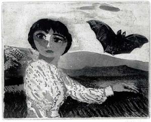 Portret van Niovy Chiotakis met vleermuis