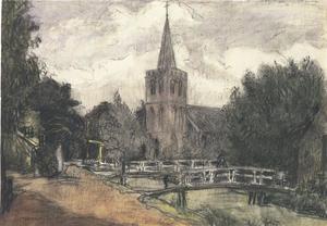 Kerk met gracht en bruggen