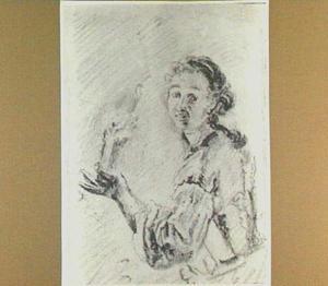 Vrouw met brandende kaars in de hand