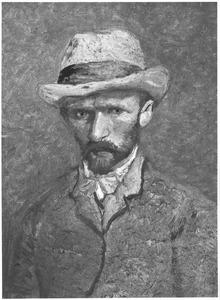 Zelfportret met grijzen vilten hoed: en face