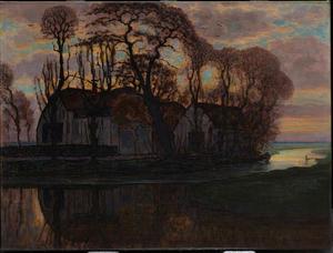 Farm near Duivendrecht, in the evening