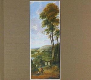 Heuvellandschap met brug en op de voorgrond een rustende vrouw en staande man