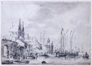 Drukke haven met stadswal