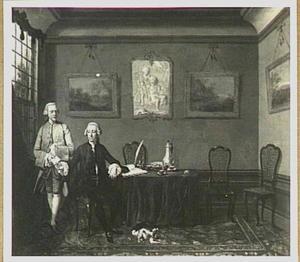 Portret van Paulus Determeyer met zijn boekhouder (oorspronkelijk rechts zijn echtgenote en dochter, later weggeschilderd)
