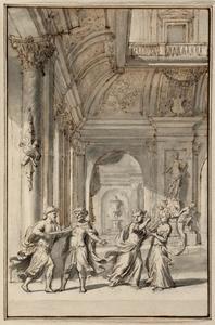 Drie ontwerpen voor de titelprent van 'Het huuwelijk van Orondates en Statira', ed. 1715