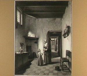 Moeder en kind in de keuken