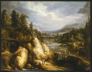 Berglandschap met brug over een rivier