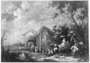 Landschap met halthoudende reizigers bij een herberg