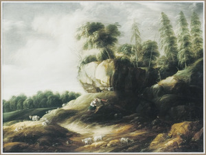 Rotslandschap met Amarillis en Mirtillo (Guarini, Il pastor fido)