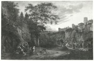 Landschap met de drie Maria's bij het graf, de intocht van Christus in Jeruzalem op de achtergrond